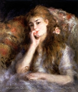 Young Woman Seated (The Thought) painting reproduction, Pierre-Auguste Renoir