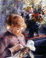 Young Woman Sewing painting reproduction, Pierre-Auguste Renoir