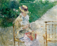 Young Woman Sewing in the Garden painting reproduction, Berthe Morisot
