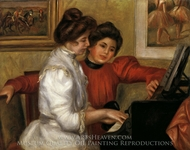Yvonne and Christine Lerolle Playing the Piano painting reproduction, Pierre-Auguste Renoir