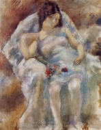 Zinah with Flowers painting reproduction, Jules Pascin