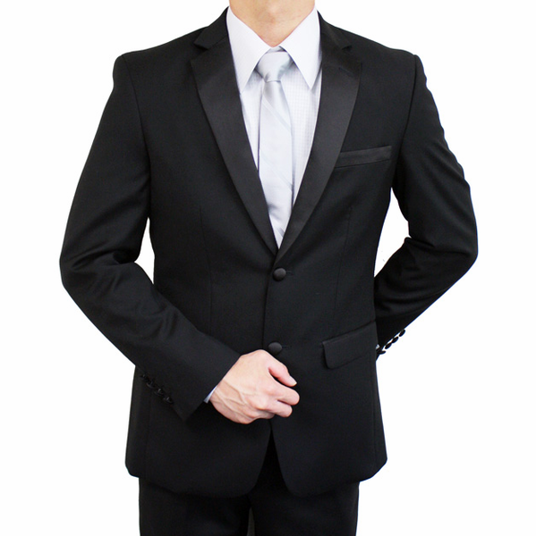 S110BTUX - Super 140s Italian Slim Fit 2 Button Tuxedo (Black) - Discontinued