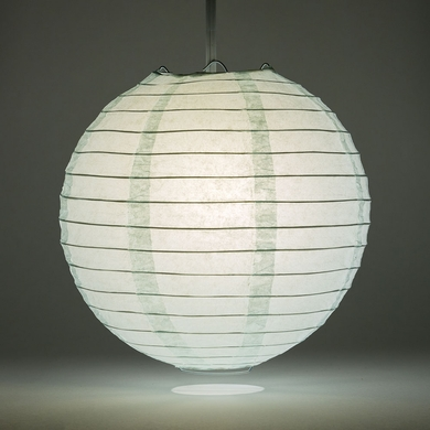 "8"" Arctic Spa Blue Round Paper Lantern, Even Ribbing, Hanging Decoration"