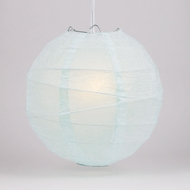 "10"" Arctic Spa Blue Round Paper Lantern, Irregular Ribbed, Hanging Decoration"