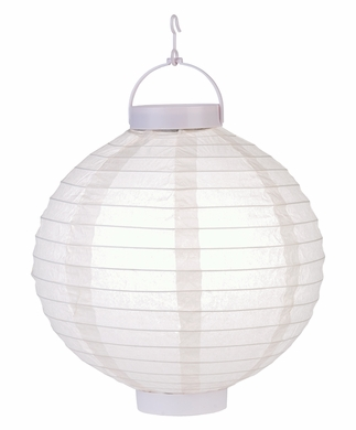"10"" Beige 16 LED Round Battery Operated Paper Lantern w/ Built-in Light-Up Switch"