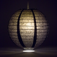 Black Round Even Ribbing Paper Lanterns