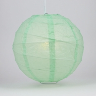 "12"" Cool Mint Green Round Paper Lantern, Crisscross Ribbing, Hanging Decoration"
