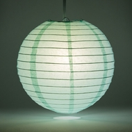 "14"" Cool Mint Green Round Paper Lantern, Even Ribbing, Hanging Decoration"