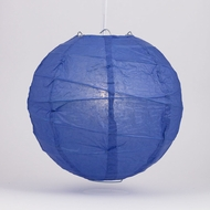 "10"" Dark Blue Round Paper Lantern, Crisscross Ribbing, Hanging Decoration"