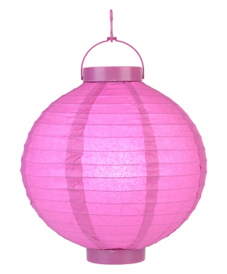 10 Fuchsia 16 Led Round Battery Operated Paper Lantern 2 Jpg
