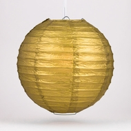 "20"" Gold Round Paper Lantern, Even Ribbing, Hanging Decoration"