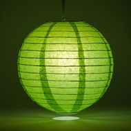 "10"" Grass Greenery Round Paper Lantern, Even Ribbing, Hanging Decoration"