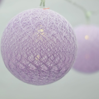 10 LED Lavender Round Texture Cotton Ball Spun String Light, 5.5 FT, Battery Operated