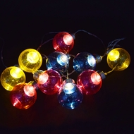 10 LED RBY Hard Plastic Light Bulb Shaped String Lights, 5.5 FT, Battery Operated