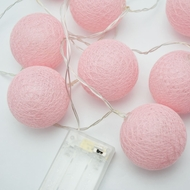 10 LED Pink Round Texture Cotton Ball String Light, 5.5 FT, Battery Operated
