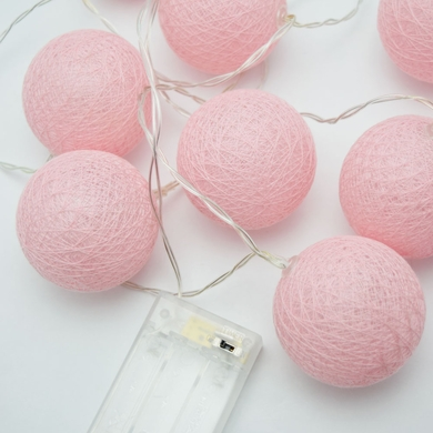 10 LED Pink Round Texture Cotton Ball Spun String Light, 5.5 FT, Battery Operated