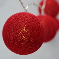 10 LED Red Round Texture Cotton Ball String Light, 5.5 FT, Battery Operated