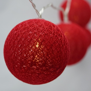 10 LED Red Round Texture Cotton Ball Spun String Light, 5.5 FT, Battery Operated