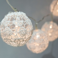 10 LED White Round Lace Fabric Ball String Light, 5.5 FT, Battery Operated