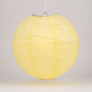 "10"" Lemon Yellow Chiffon Round Paper Lantern, Crisscross Ribbing, Hanging Decoration"