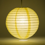 "14"" Lemon Yellow Chiffon Round Paper Lantern, Even Ribbing, Hanging Decoration"
