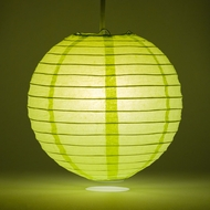 "14"" Light Lime Green Round Paper Lantern, Even Ribbing, Hanging Decoration"