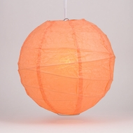 "10"" Peach / Orange Coral Round Paper Lantern, Crisscross Ribbing, Hanging Decoration"