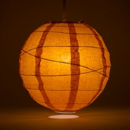 "10"" Persimmon Orange Round Paper Lantern, Crisscross Ribbing, Hanging Decoration"