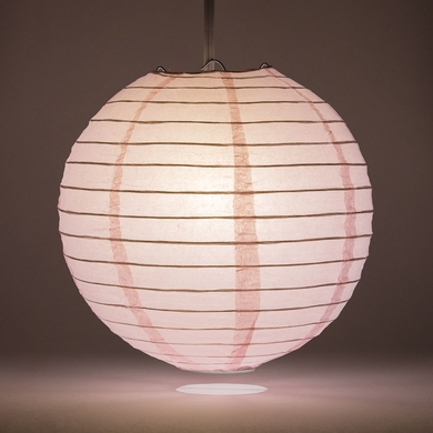 "6"" Pink Round Paper Lantern, Even Ribbing, Hanging Decoration"