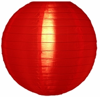 """10"""" Red Nylon Lantern, Even Ribbing, Durable, Hanging (Light Not Included)"""