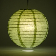 "12"" Sea Green Round Paper Lantern, Even Ribbing, Hanging Decoration"