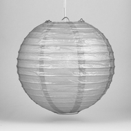"12"" Silver Round Paper Lantern, Even Ribbing, Hanging Decoration"
