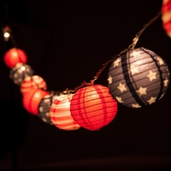 "10 Socket 4th of July Red, White and Blue Round Paper Lantern Party String Lights (4"" Lanterns)"
