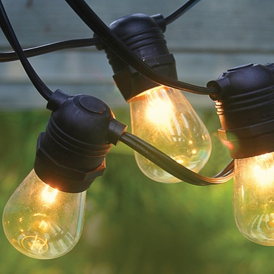10 Socket Outdoor Commercial String Light Set, S14 Bulbs, 21 FT Black Cord w/ E26 Medium Base, Weatherproof