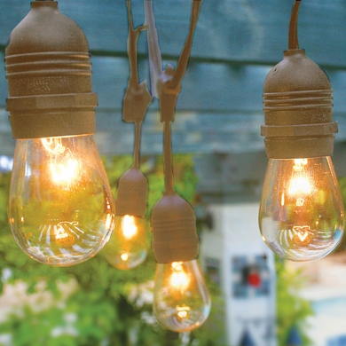 10 Suspended Socket Commercial Outdoor String Light Kit W S14 Bulbs 21ft Expandable Brown On Now Patio Lights