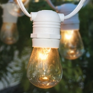 10 Socket Outdoor Commercial String Light Set, S14 Bulbs, 21 FT White Cord w/ E26 Medium Base, Weatherproof