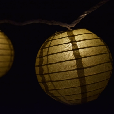 10 Socket Gold Round Paper Lantern Party String Lights (4