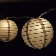 "10 Socket Silver Round Paper Lantern Party String Lights (4"" Lanterns)"