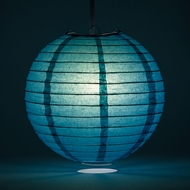 Tahiti Teal Round Even Ribbing Paper Lanterns