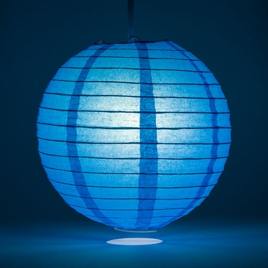 "6"" Turquoise Round Paper Lantern, Even Ribbing, Hanging Decoration"