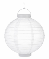 """10"""" White 16 LED Round Battery Operated Paper Lantern w/ Built-in Light-Up Switch"""