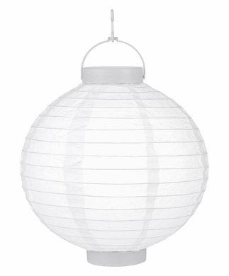 "10"" White 16 LED Round Battery Operated Paper Lantern w/ Built-in Light-Up Switch"
