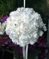 "BLOWOUT 10"" White Foam Kissing Flower Balls"