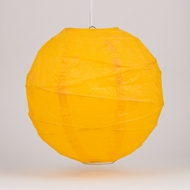"10"" Yellow Round Paper Lantern, Crisscross Ribbing, Hanging Decoration"