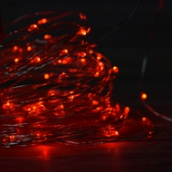 100 Red LED Micro Fairy String Light, Waterproof Wire (33ft, AC Plug-In)