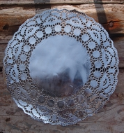 "11.5"" Round Silver Foil Doilies Placemats, Metallic (50 PACK)"