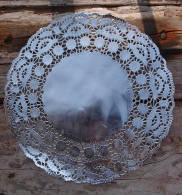 """11.5"""" Round Silver Foil Doilies Placemats, Metallic (50 PACK)"""