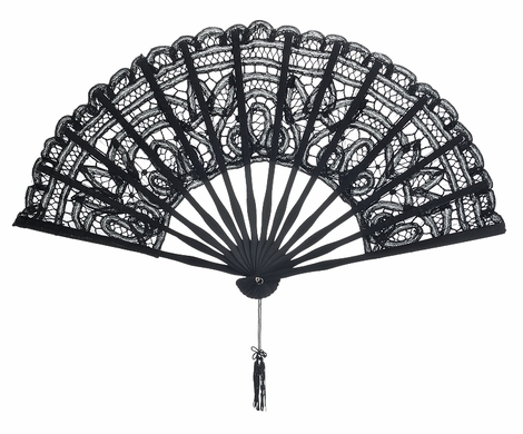 11 Quot Black Chinese Folding Lace Hand Fan For Weddings On