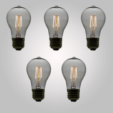 11-Watt Incandescent PS50 Vintage Edison Light Bulb, Squirrel Cage Filament, E26 Base (5-PACK)
