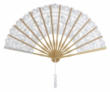 "11"" White Lace Hand Fan for Weddings"